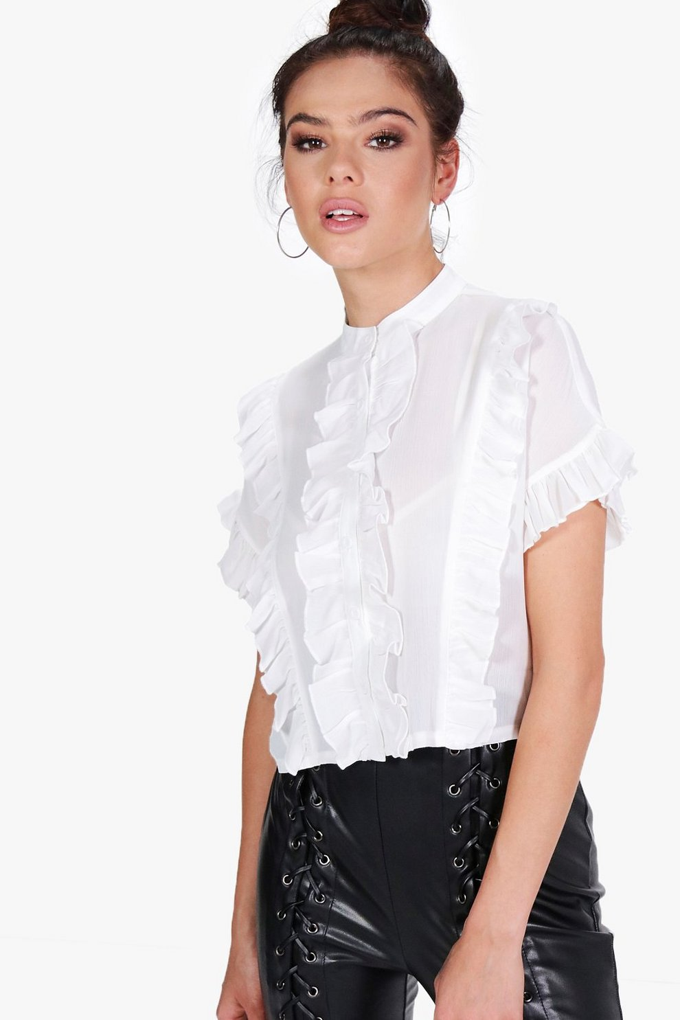 fff95b53923025 Petite Ruffle Short Sleeve Shirt