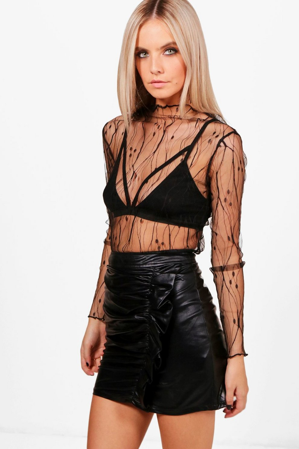 f4d5ba09ff6 Petite Lizzie High Neck Barely There Mesh Top | Boohoo