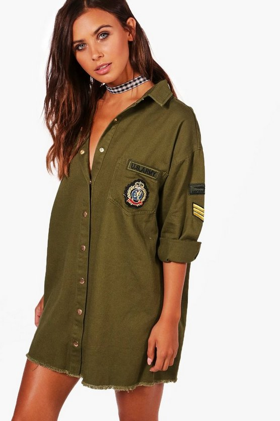 Petite Military Shirt Dress