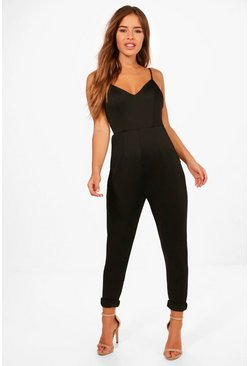 Womens Black Petite Strappy Cigarette Trouser Jumpsuit