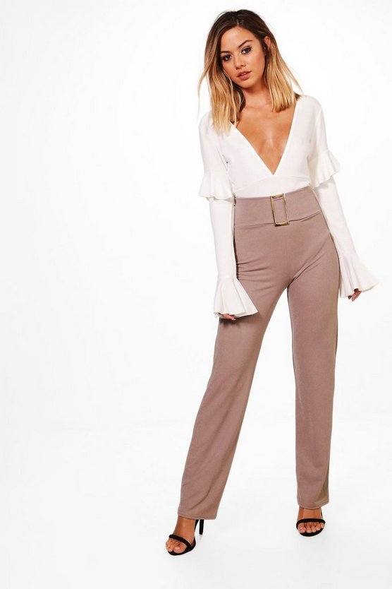 Womens Grey Petite Keira Buckle Detail High Waist Crepe Trouser
