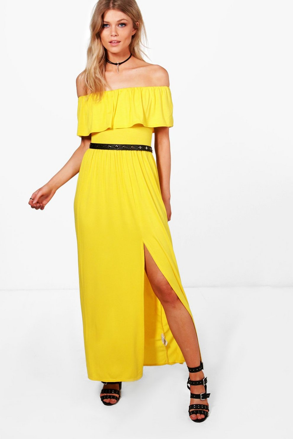 9f7b9c556724 Petite Sia Off The Shoulder Frill Split Maxi Dress | Boohoo