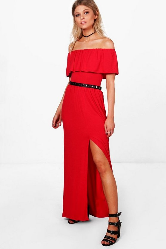 Petite Sia Off The Shoulder Frill Split Maxi Dress