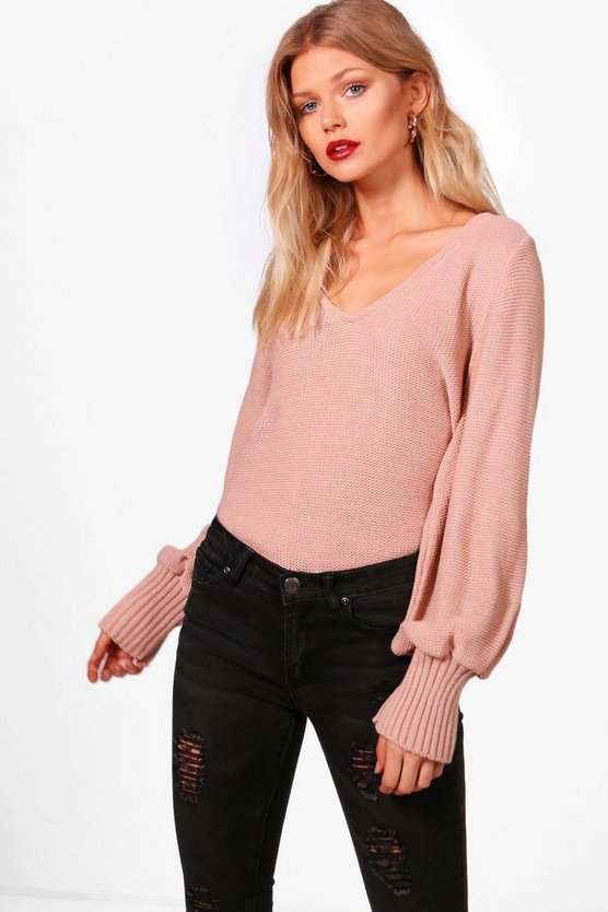 Petite Oversized Sleeve V Neck Jumper