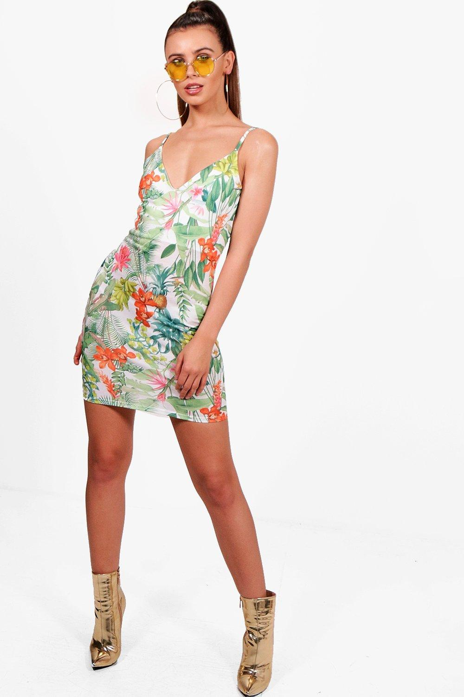 Petite Tropical Bodycon Dress