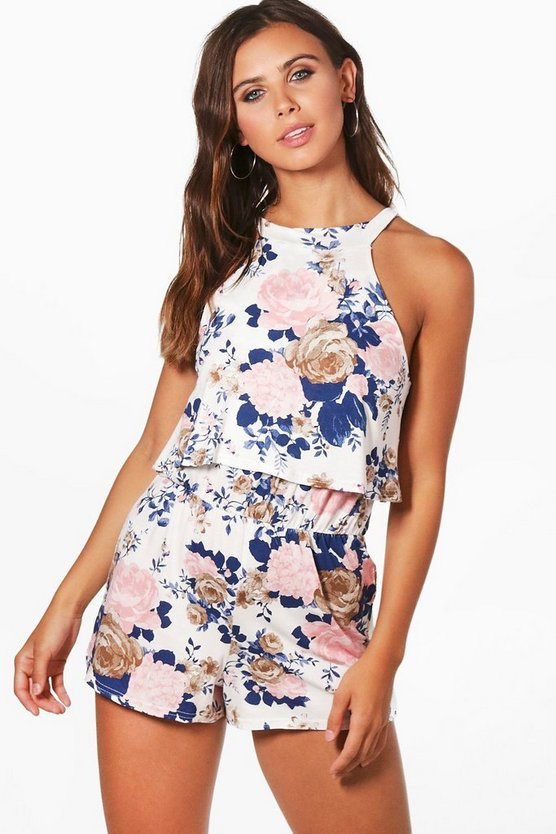 Petite Jess High Neck Ruffle Double Layer Playsuit