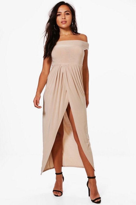 Petite Elena Bardot Wrap Maxi Dress
