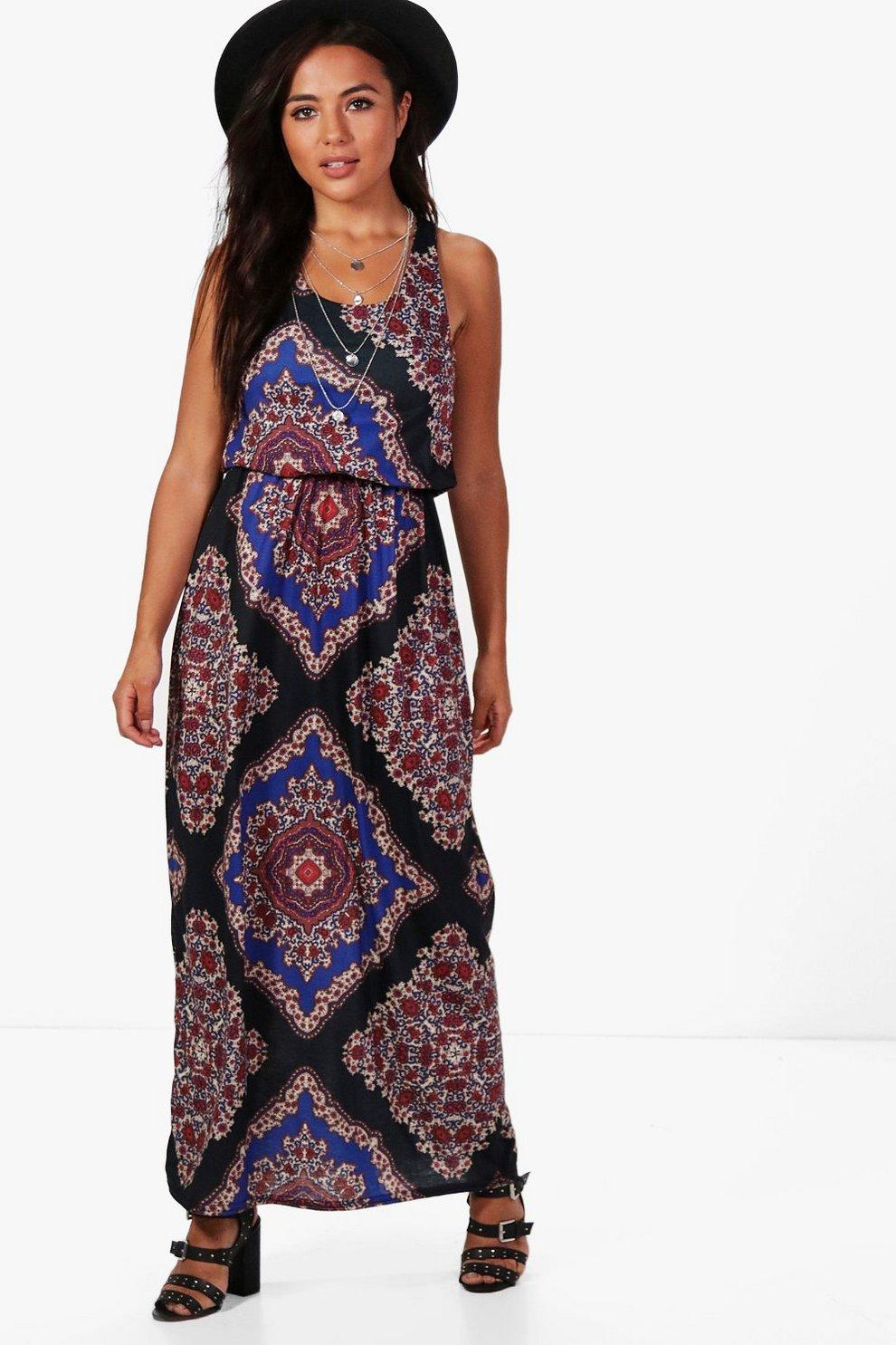 ac3f835276a2 Petite Melissa Paisley Print Twist Back Maxi Dress | Boohoo