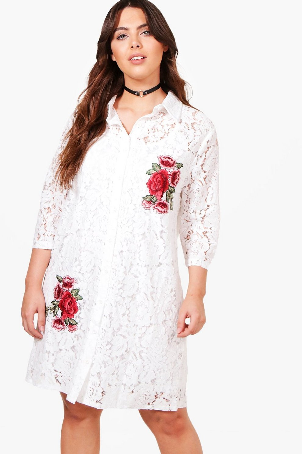 012f76a9649c Plus Rosie Lace Embroidered Shirt Dress | Boohoo