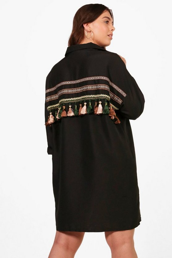 Plus Paige Tassel Trim Back Shirt Dress