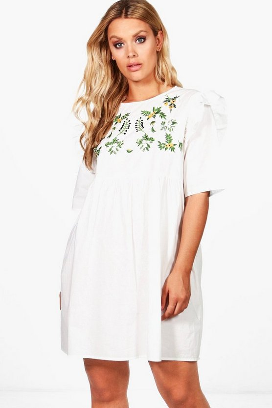 Plus Martha Embroidered Smock Ruffle Dress
