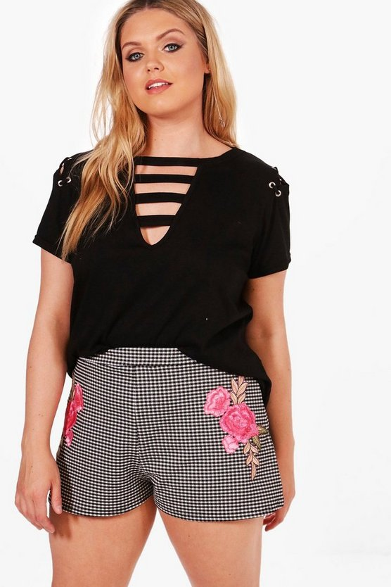 Plus Maya Floral Applique Gingham Shorts