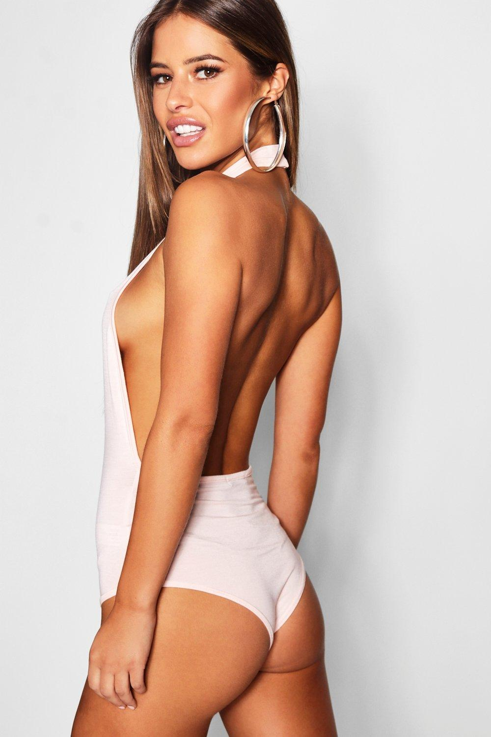 nude Bodysuit Neck High Backless Petite wFZSAqY