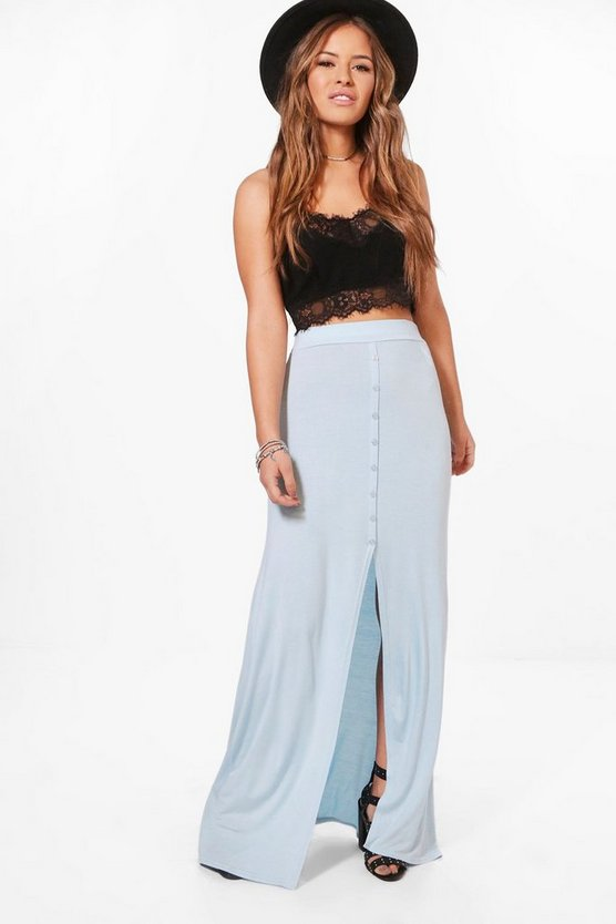 Petite Jeny Button Front Floor Sweeping Maxi Skirt