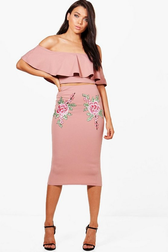 Petite Anna Embroidered Crop and Midi Skirt Co-ord