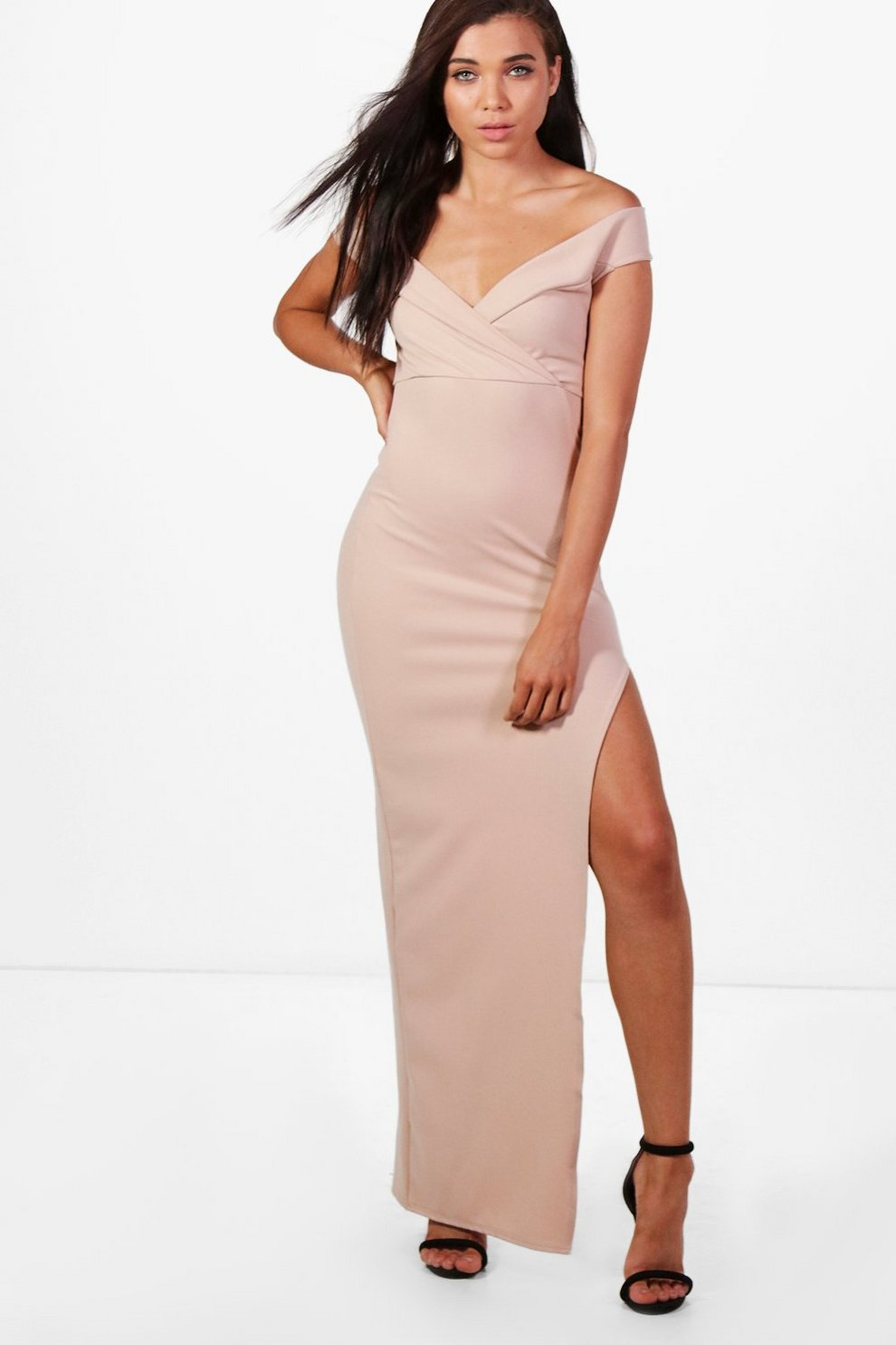 c147dedbda Womens Petite Wrap Top Off The Shoulder Maxi Dress. Hover to zoom
