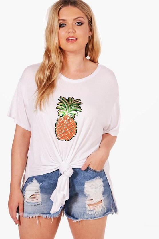 Plus Yazz Pineapple Tie Detail Tee