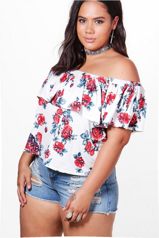 Plus Ashleigh Off The Shoulder Ruffle Printed Top