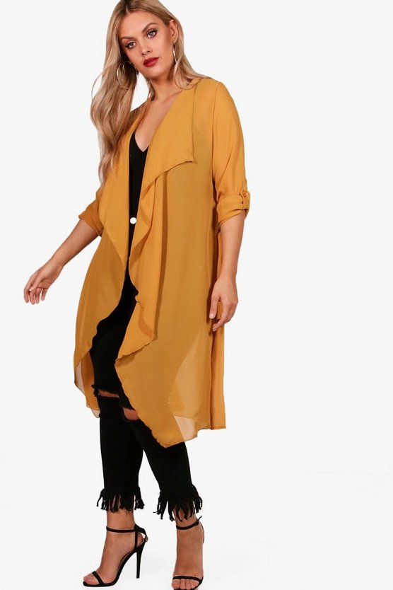 Plus Isabelle Waterfall Chiffon Duster