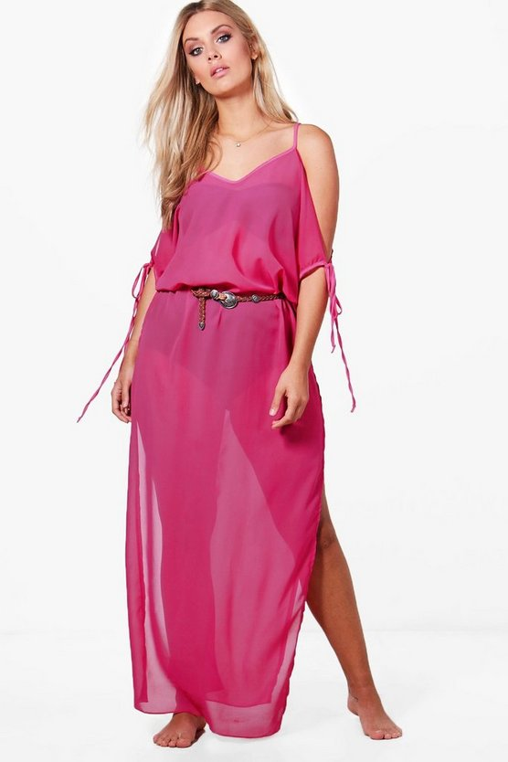 Plus Ella Tie Sleeve Split Maxi Beach Dress
