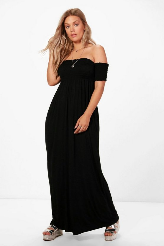 Plus Jess Off The Shoulder Shirred Maxi Dress