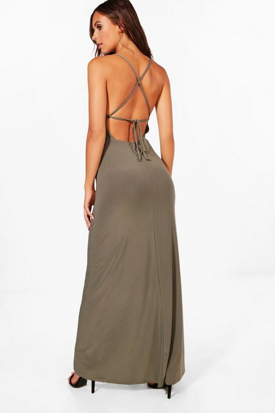 Petite Plunge Strappy Back Maxi Dress