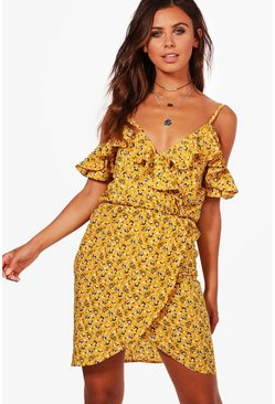 Womens Mustard Petite Ruffle Floral Wrap Tea Dress