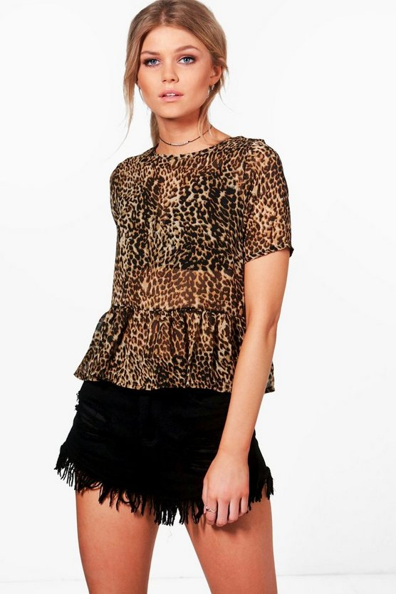 Petite Monica Animal Print Frill Hem Top