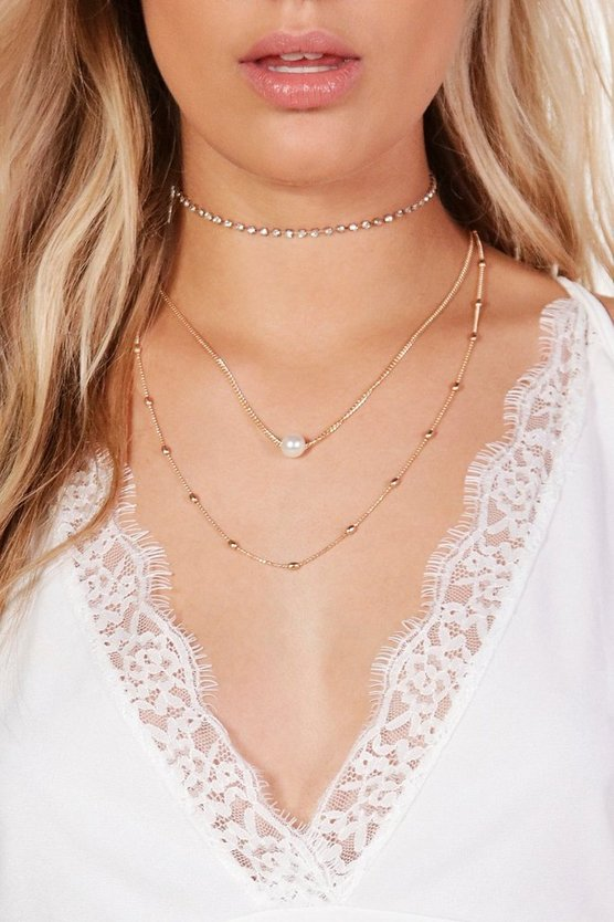 Plus Charlotte 3 Layer Faux Pearl Choker