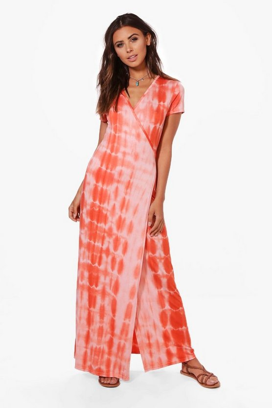 Petite Ellie Tie Dye Wrap Front Maxi Dress