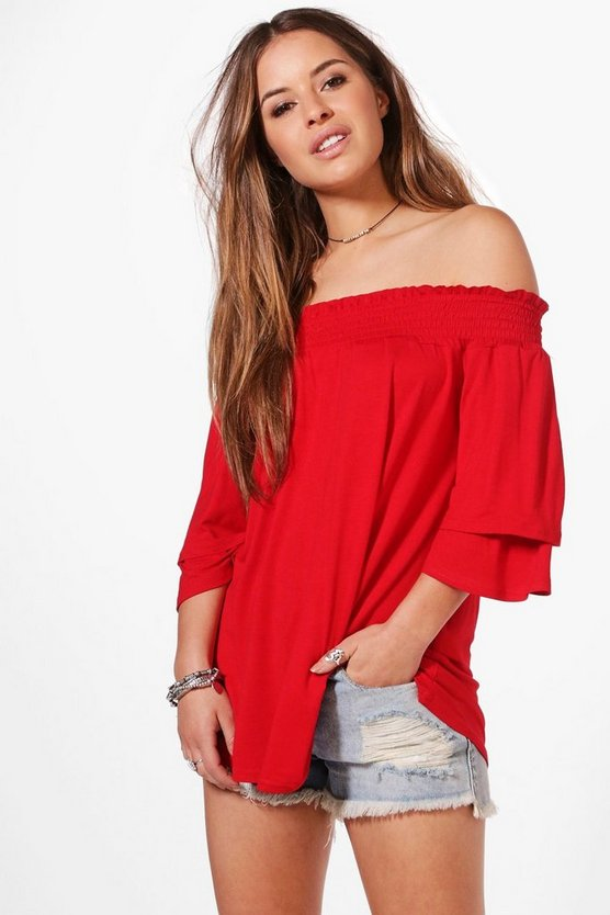 Petite Heidi Shirred Off The Shoulder Frill Sleeve Top