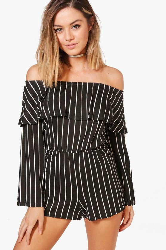 Petite Zoe Frill Stripe Off The Shoulder Playsuit