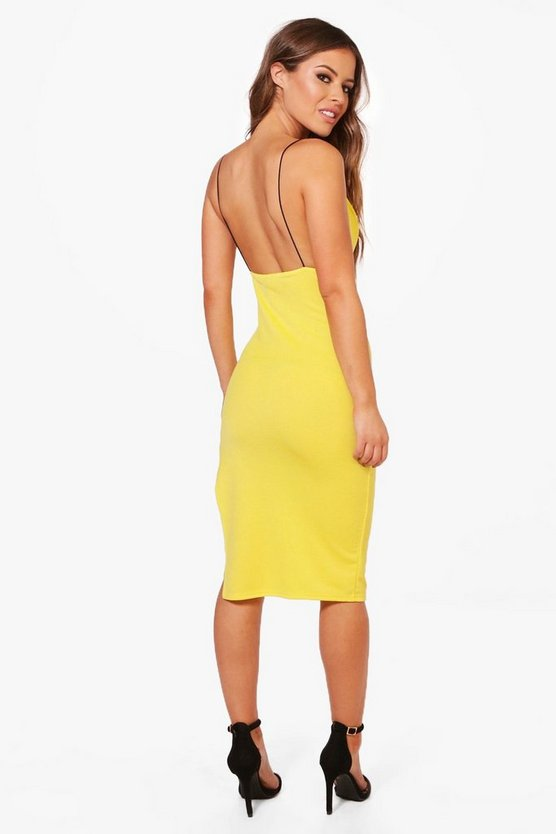 Petite Kara Open Back Plunge Crepe Midi Dress