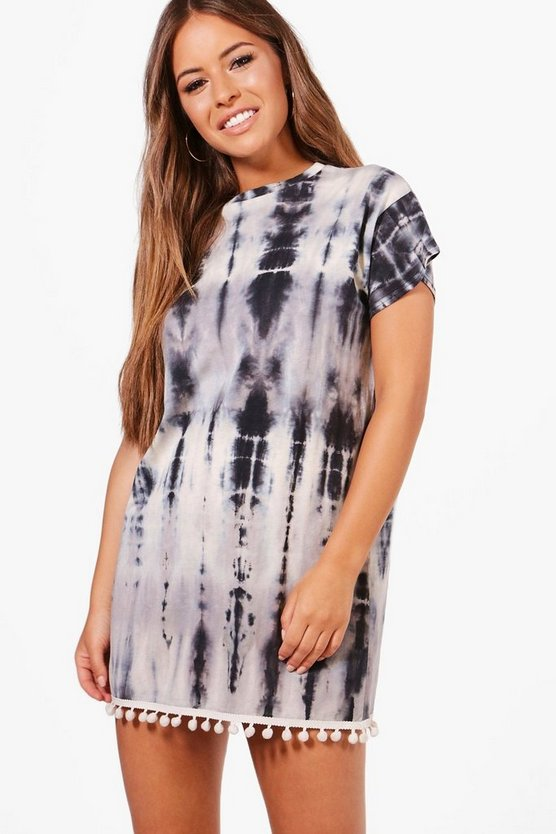 Petite Layla Tie Dye Pom Pom Trim T-shirt Dress, Multi, MUJER