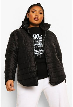 Black Plus  Padded Short Jacket