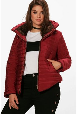 Plus  Padded Short Jacket, Burgundy, Donna