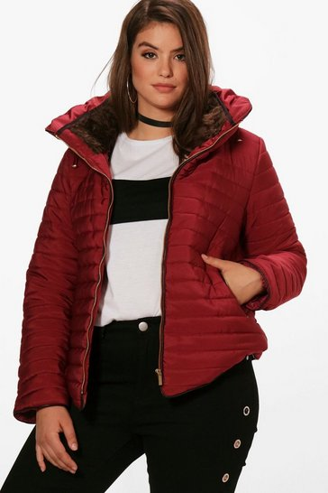 Womens Burgundy Plus  Padded Short Jacket