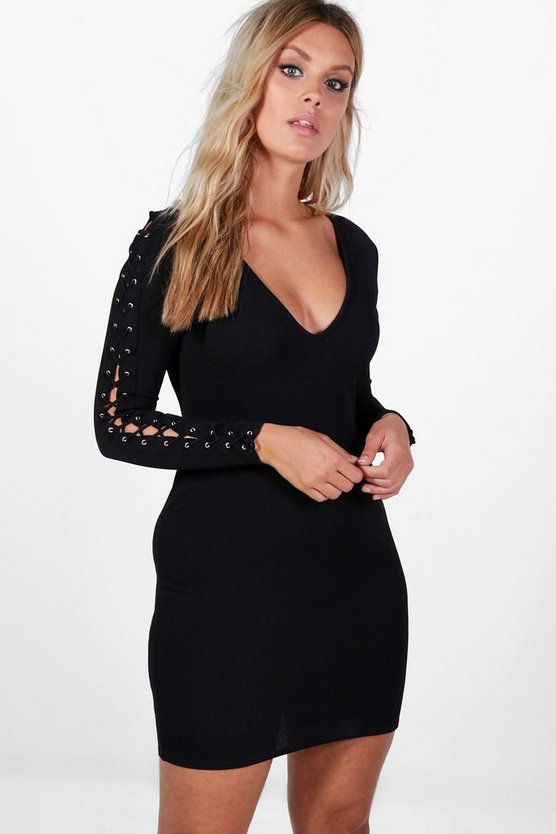 Plus Katie Eyelet Sleeve Bodycon Dress
