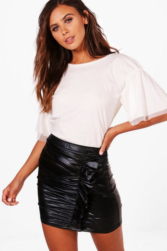 Petite Lara Gathered Mesh Sleeve Tee