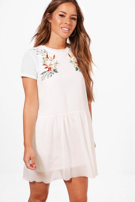 Petite Embroidered Mesh Skater Dress