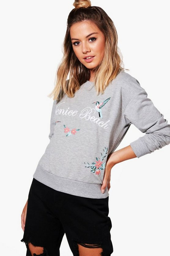 Petite Lily Oversized Printed Sweat Top