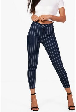 Womens Blue Petite Stretch Stripe Tube Jean