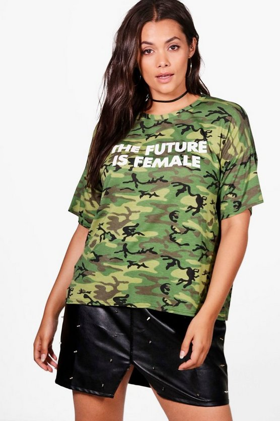 "Plus Rosie T-Shirt mit Camouflage-Muster und ""The Future is Female""-Slogan"