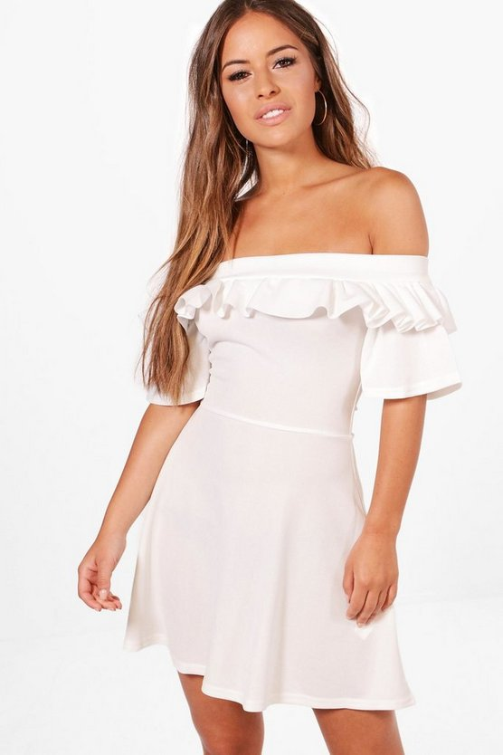 Petite Louisa Bardot Frill Crepe Skater Dress