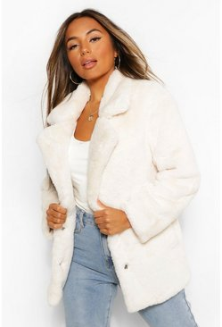 Dam Cream Petite Oversized Collar Luxe Faux Fur Coat