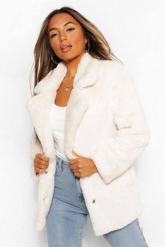 Womens Cream Petite Oversized Collar Luxe Faux Fur Coat