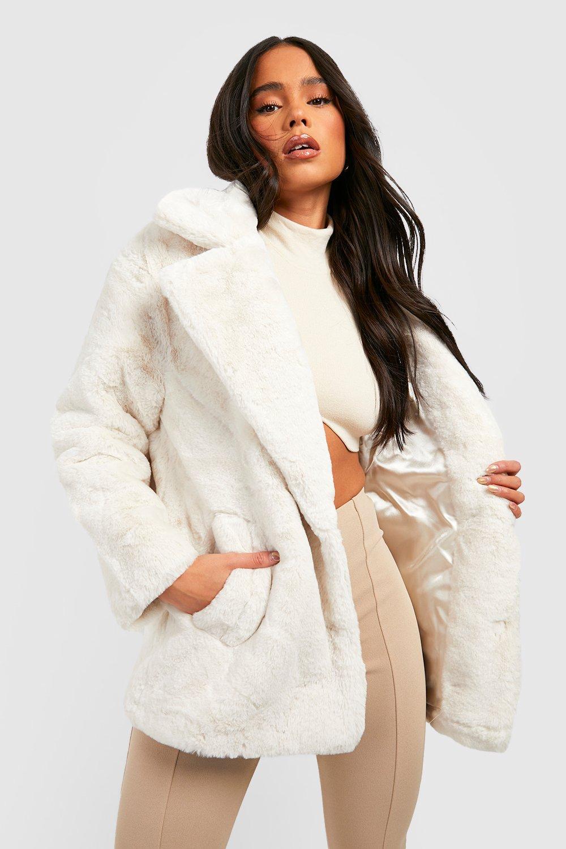 8a3a4886e2a Petite Oversized Collar Luxe Faux Fur Coat   Boohoo