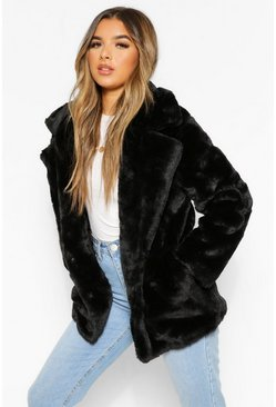 Petite Oversized Collar Luxe Faux Fur Coat, Black, Donna