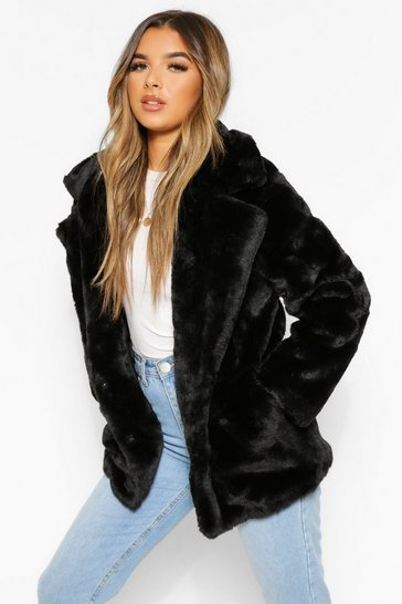 Womens Black Petite Oversized Collar Luxe Faux Fur Coat