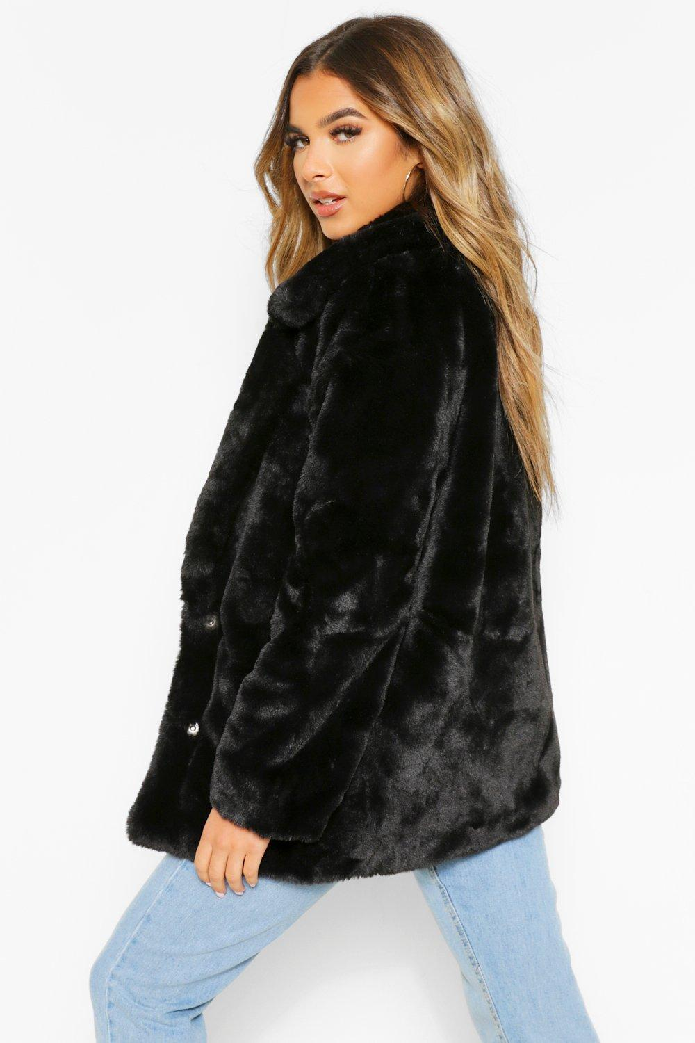 Luxe Petite Fur Coat Oversized Collar black Faux qEwxrUEvS